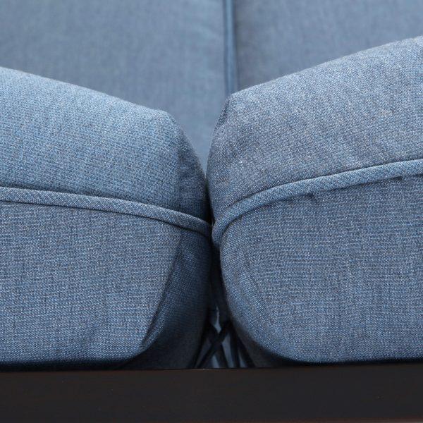 Bellevue patio love seat with Sunbrella Spectrum Denim cushions