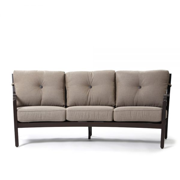 Sunbrella Bellevue outdoor curved sofa front view