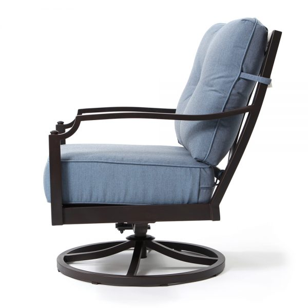 Bellevue aluminum swivel lounge chair side view