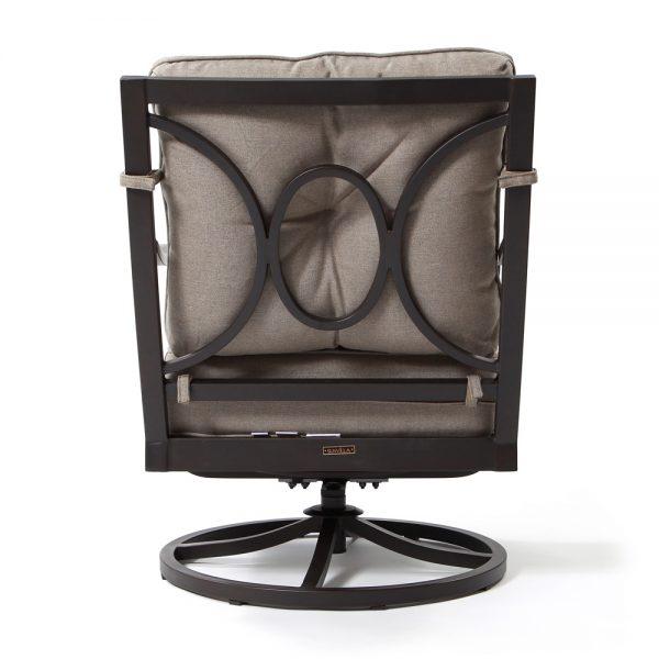 Bellevue aluminum swivel club chair back view