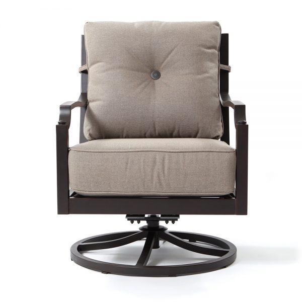 Sunvilla Bellevue aluminum swivel club chair front view