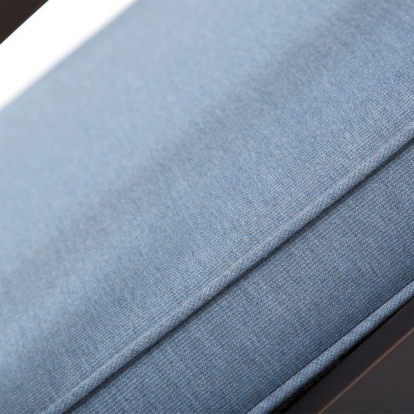 Bellevue cushioned swivel dining chair with Sunbrella Spectrum Denim outdoor fabric
