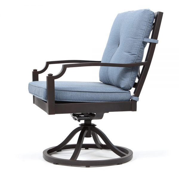 Bellevue outdoor swivel dining chair side view