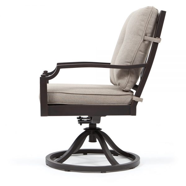 Bellevue aluminum swivel rocker dining chair side view