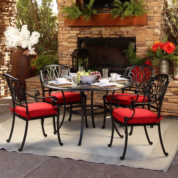 """Hanamint 48"""" round dining table with chairs"""
