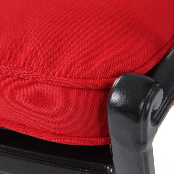 Hanamint swivel barstool with Sunbrella Jockey Red fabric