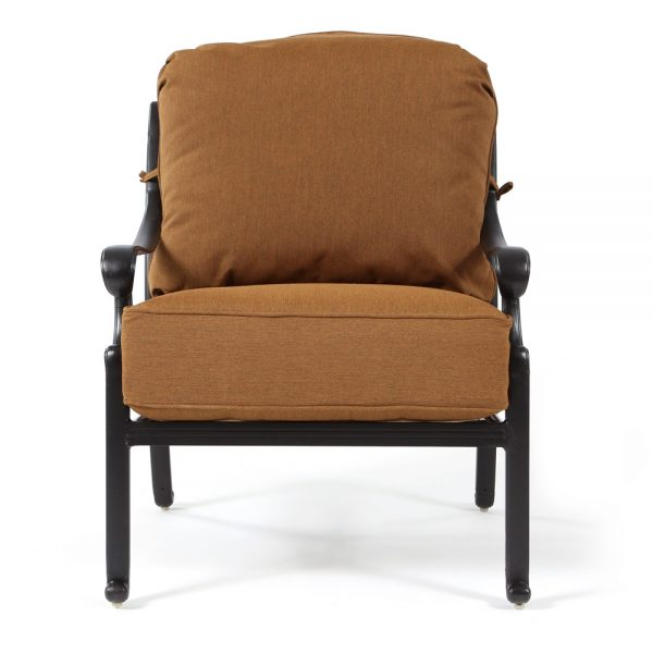 Biscayne cast aluminum lounge chair front view