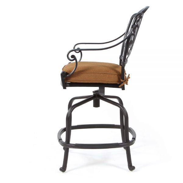Biscayne cast aluminum counter stool side view