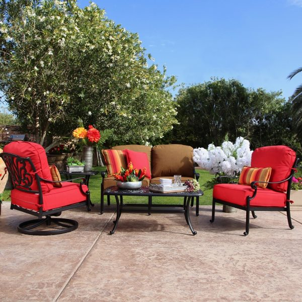 Hanamint Biscayne patio coffee table with deep seating furniture