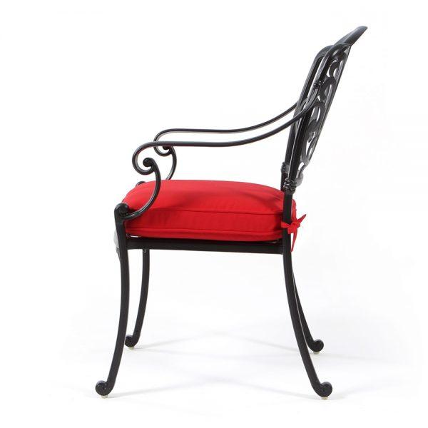 Hanamint cast aluminum patio dining chair side view