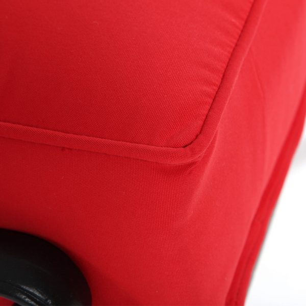 Hanamint ottoman with Sunbrella Jockey Red fabric