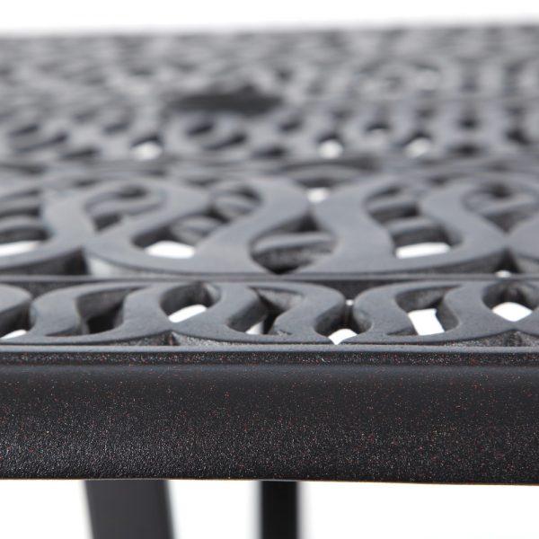 Hanamint aluminum dining table with a Terra Mist finish