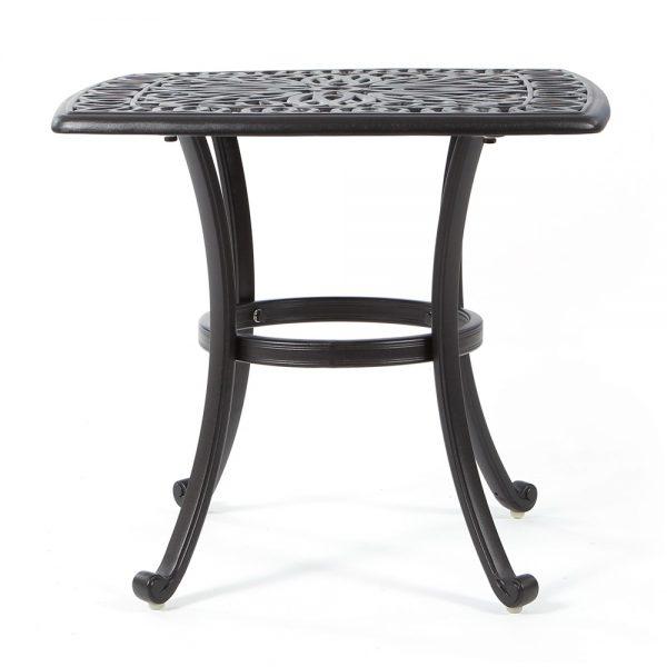 Hanamint cast aluminum square side table front view