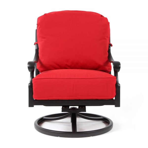 Biscayne cast aluminum swivel club chair front view