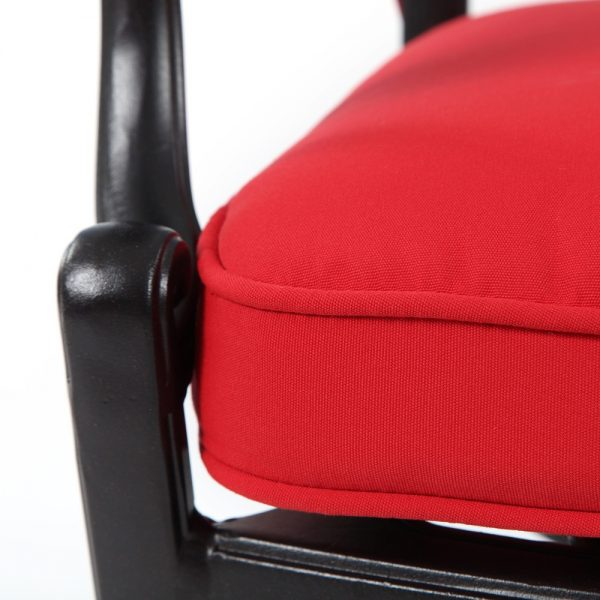 Hanamint dining chair with Sunbrella Jockey Red fabric