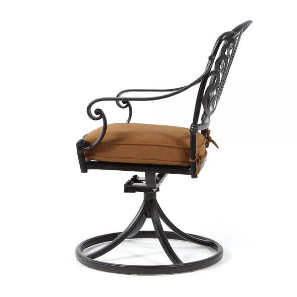 Biscayne outdoor swivel rocker dining chair side view