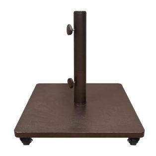 120lb Steel umbrella base with locking casters in a bronze finish