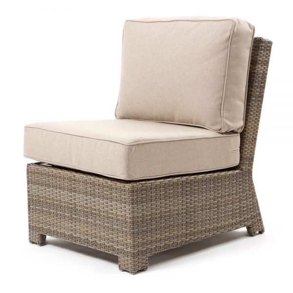 Cabo armless middle section with a Willow weave and Blend Sand cushions