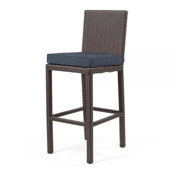 Cabo armless barstool with Jacobean weave and Spectrum Indigo cushion