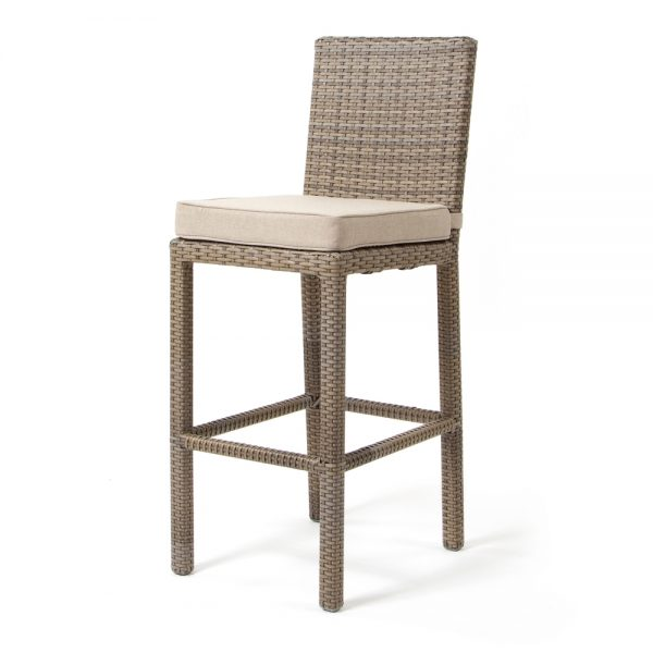 Cabo armless barstool with Willow weave and Blend Sand cushion