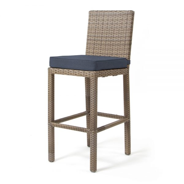 Cabo armless barstool with Willow weave and Spectrum Indigo cushion
