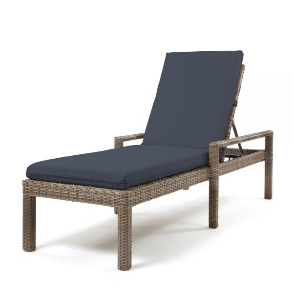 Cabo chaise lounge with a Willow weave and Spectrum Indigo cushions