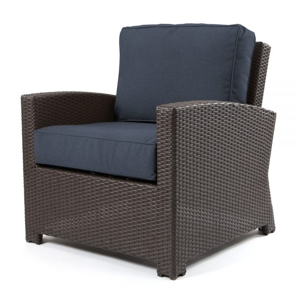 Cabo club chair with a Jacobean weave and Spectrum Indigo cushions