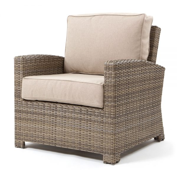 Cabo club chair with a Willow weave and Blend Sand cushions