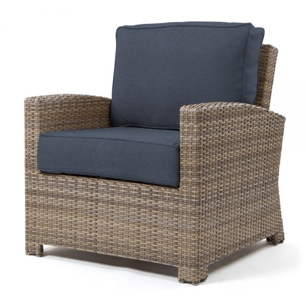 Cabo club chair with a Willow weave and Spectrum Indigo cushions