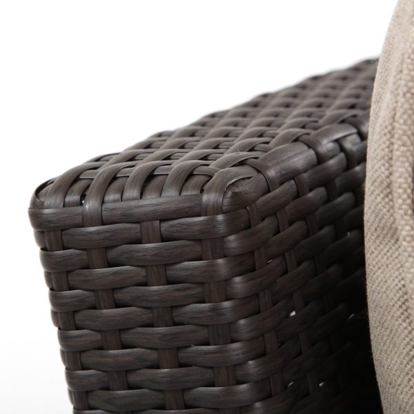 Cabo wicker curved sofa with a Jacobean weave