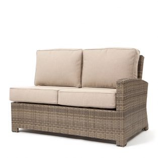 Cabo wicker right arm facing love seat section with a Willow weave and Blend Sand cushions