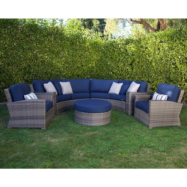 Cabo wicker furniture with Spectrum Indigo cushions and a Willow weave