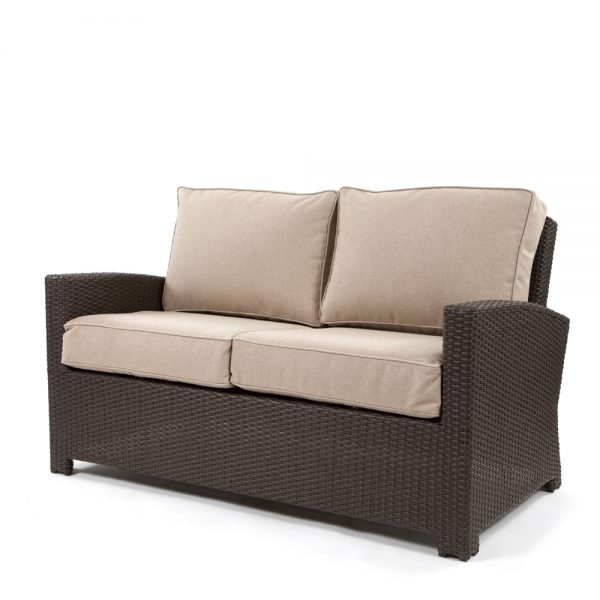 Cabo love seat with a Jacobean weave and Blend Sand cushions