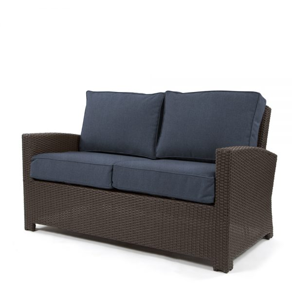 Cabo love seat with a Jacobean weave and Spectrum Indigo cushions