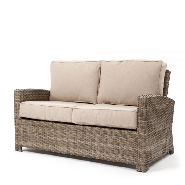 Cabo love seat with a Willow weave and Blend Sand cushions