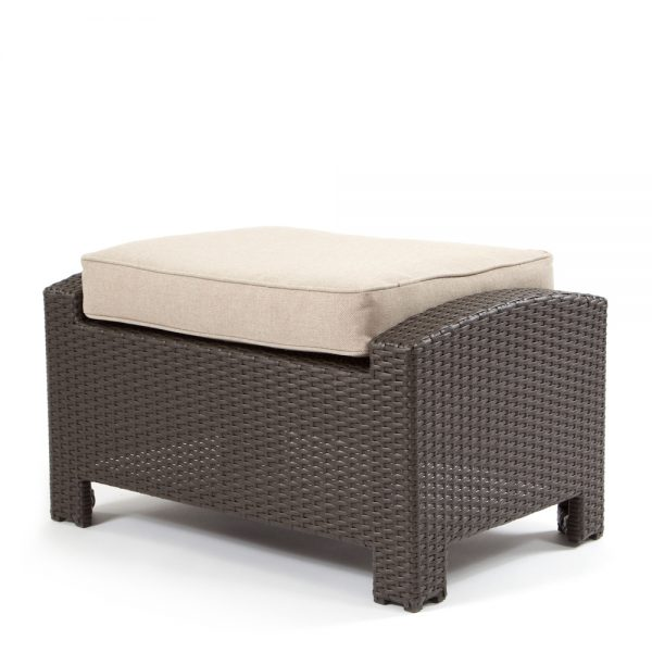 Cabo ottoman with a Jacobean weave and Blend Sand cushion