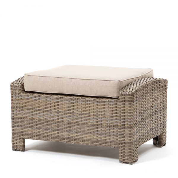 Cabo ottoman with a Willow weave and Blend Sand cushion