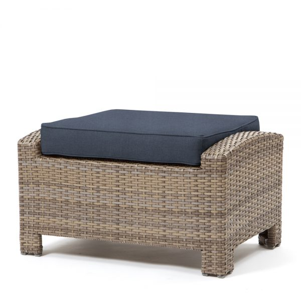Cabo ottoman with a Willow weave and Spectrum Indigo cushion