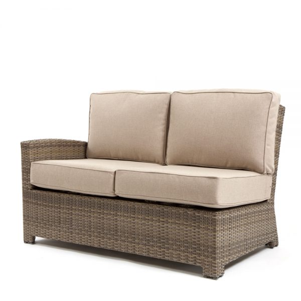 Cabo wicker left arm facing love seat section with a Willow weave and Blend Sand cushions
