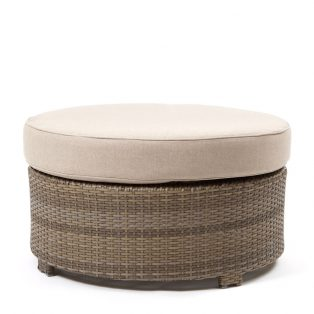 Cabo round ottoman with a Willow weave and Blend Sand cushion