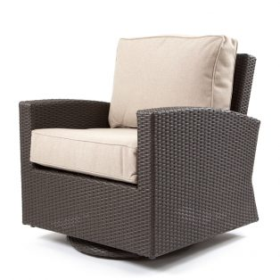 Cabo swivel glider club chair with a Jacobean weave and Blend Sand cushions