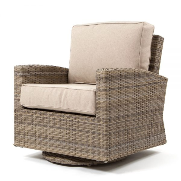 Cabo swivel glider club chair with a Willow weave and Blend Sand cushions