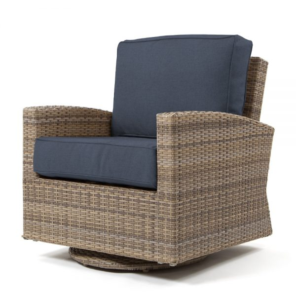 Cabo swivel glider club chair with a Willow weave and Spectrum Indigo cushions