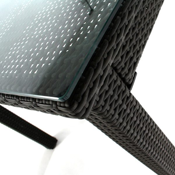 """Cabo wicker 42"""" x 84"""" patio dining table close up"""