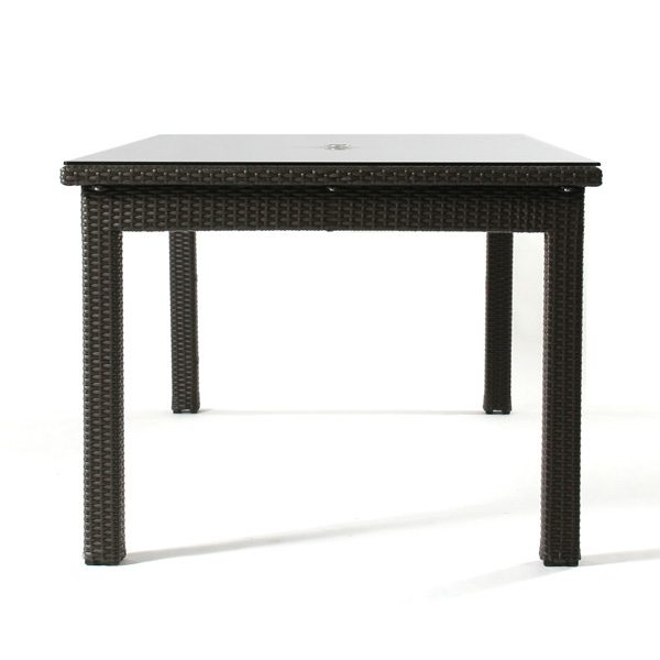 """Cabo wicker 42"""" x 84"""" dining table front view"""