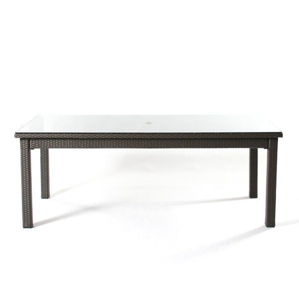 """North Cape International Cabo wicker 42"""" x 84"""" dining table side view"""