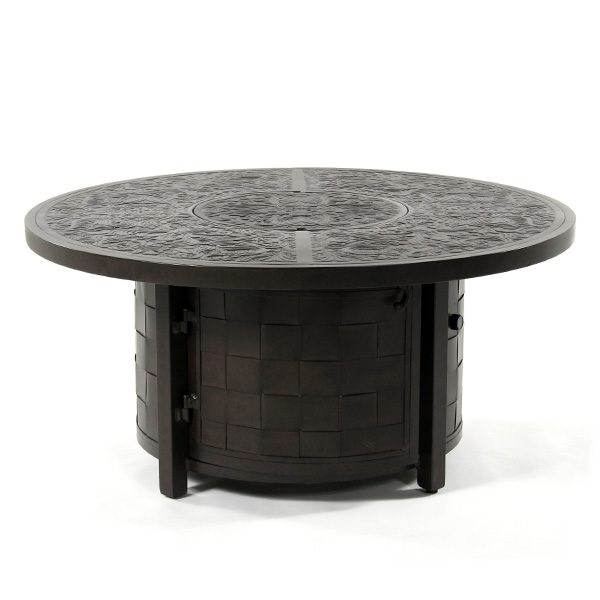 "Castelle Pride 50"" round coffee table with fire pit with cover on"