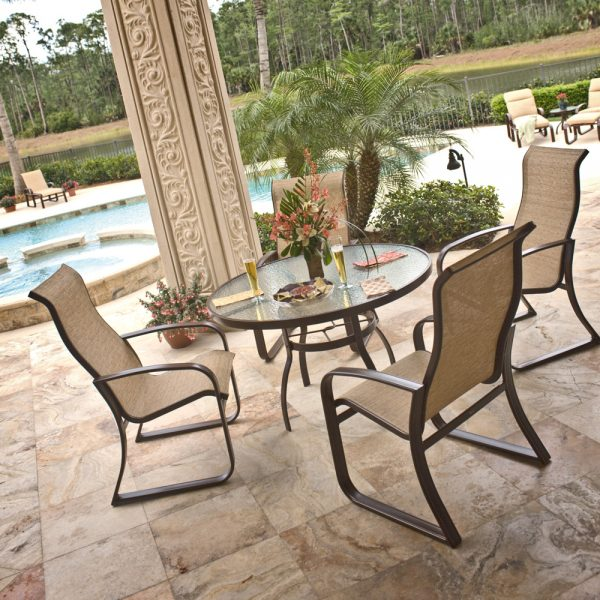 Woodard outdoor sling dining furniture