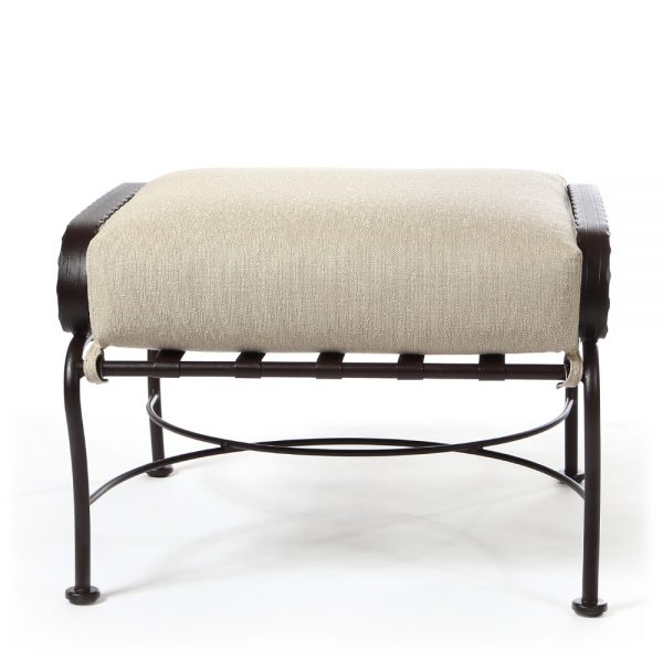 OW Lee Classico wrought iron outdoor ottoman front view