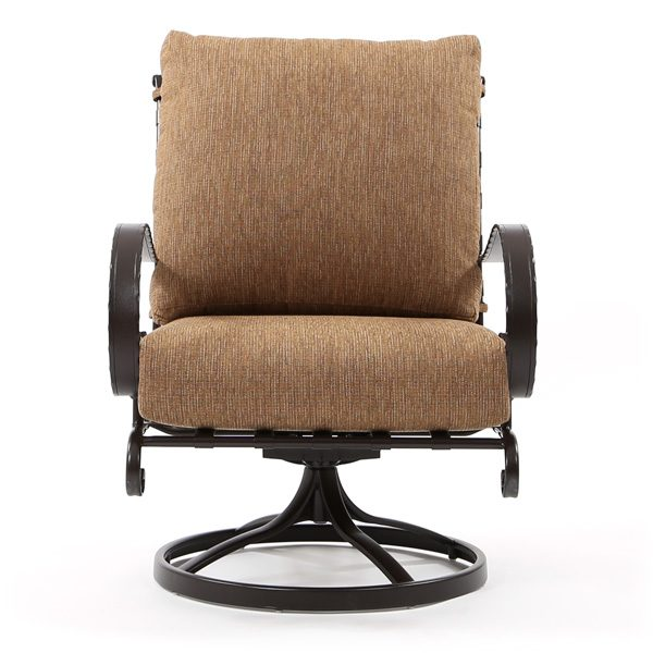 OW Lee Classico wrought iron swivel rocker club chair front view